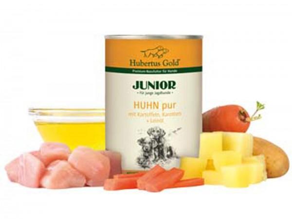 Hubertus Gold Junior Nassfutter Huhn pur (6 Dosen)