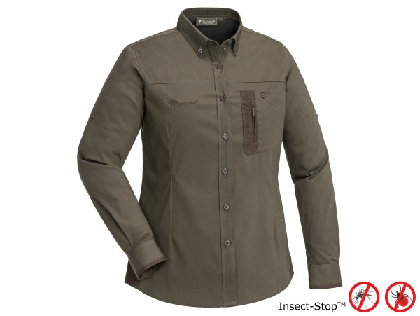 Pinewood Tiveden TC-Stretch Damen Bluse Insect-Stop (Darkoliv/Suede Brown)