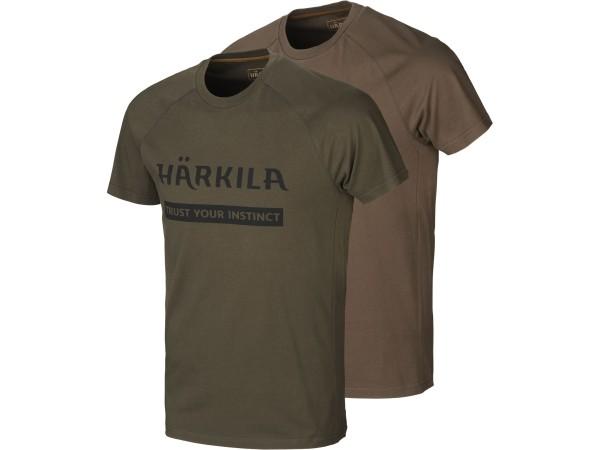 Härkila Logo T-Shirt 2er-pack (Willow green/Slate brown)