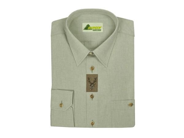 Skogen Trachtenhemd mit Lederapplikation und Stickerei Hirsch (lind)