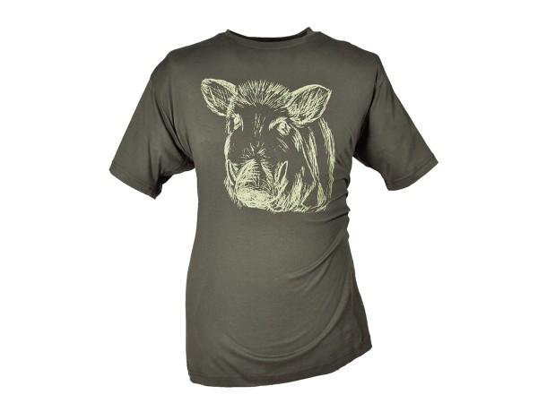 Hubertus T-Shirt Keilerkopf (schilf)