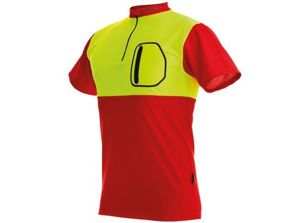 Pfanner Zipp-Neck Kurzarm Shirt (rot-gelb)