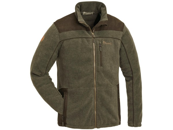 Pinewood Prestwick Exklusiv Fleece Jacke (Oliv Melange/Wildlederbraun)