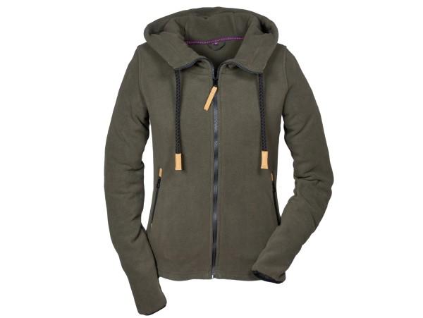 Hubertus Ladies Fashion Fleece-Hoody (Reißverschluss, oliv/braun)