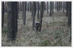 Getarnter Jäger auf der Pirsch in Kiefernwald