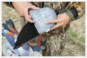 Jäger beim Auffalten einer FUD Nilgans während des Aufbaus eines Lockbildes für die Gänsejagd