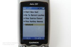 Garmin Astro 220 im Menübildschirm