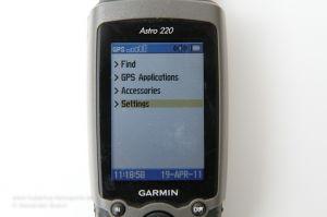 Garmin Astro 220 Menüführung