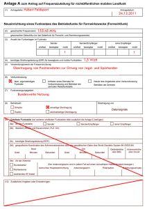 ausgefülltes Formular zur Anmeldung eines Garmin Astro 220