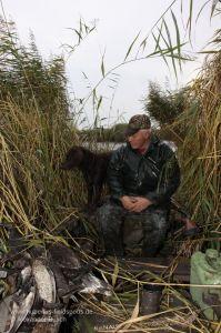 Jäger mit Wachtelhund im Boot sitzend, links erlegtes Wasserwild