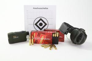 Für das Einschießen oder Kontrollschießen von Büchsen benötigt man neben der Gewehr ausreichend Munition und Anschussscheiben