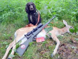 Savage Hog Hunter mit Leupold-Optik auf erlegtem Damwild, dahinter ein Jagdhund