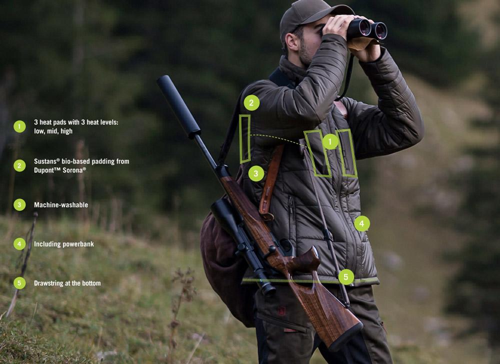 Jäger mit Deerhunter-HEAT-Heizjacke, verschiedene Funktionen sind grafisch hervorgehoben und erklärt
