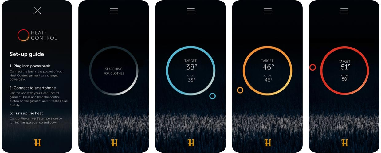 Ansichten der Benutzeroberfläche der HEAT-Control-App von Härkila