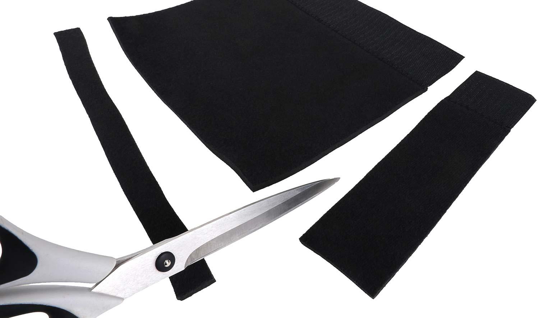 Abgebildet ist ein Neopren-Schalldämpferschutz, der in Länge und Breite mit einer Schere zugeschnitten wird.