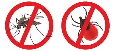Symbole für Pinewood Isect-Stop: auf Verbotsschild durchgestrichene Zecke und durchgestrichene Mücke