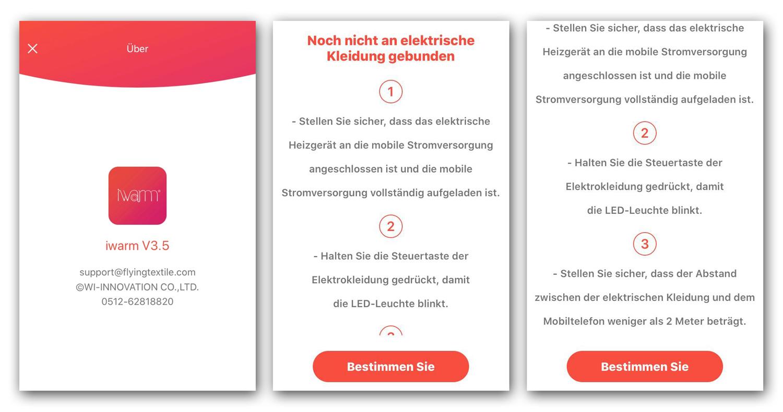 Grafik der Benutzeroberfläche der App iwarm3 für die Smartphone-Steuerung der iHeat-Heizweste von Shooterking